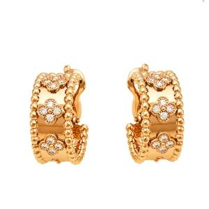 Van Cleef & Arpels Perlée Clover Diamond 18K Rose Gold Hoop Earrings