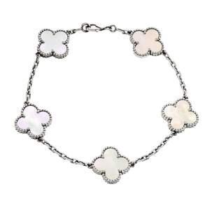 Van Cleef & Arpels Vintage Alhambra 5 Motifs Mother of Pearl 18K White Gold Bracelet