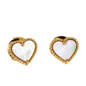Van Cleef & Arpels Sweet Alhambra Mother of Pearl 18K Yellow Gold Small Stud Earrings