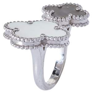 Van Cleef & Arpels Magic Alhambra 18K White Gold Between The Fingers Ring Size 52