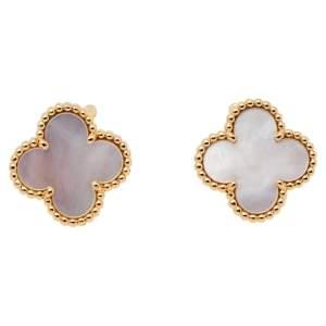 Van Cleef & Arpels Vintage Alhambra Mother of Pearl 18k Yellow Gold Clip-on Stud Earrings