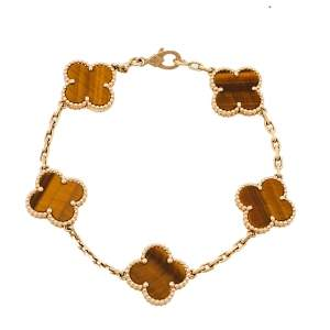 Van Cleef & Arpels Vintage Alhambra Tiger Eye 18K Yellow Gold 5 Motifs Bracelet