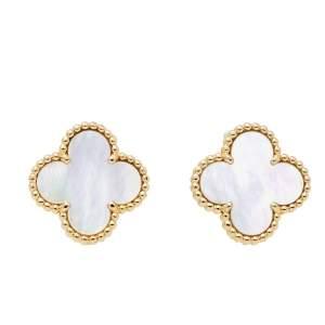 Van Cleef & Arpels Vintage Alhambra Mother of Pearl 18K Yellow Gold Earrings