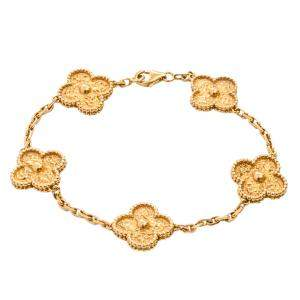 Van Cleef & Arpels 18K Yellow Gold Vintage Alhambra 5 Motifs Bracelet