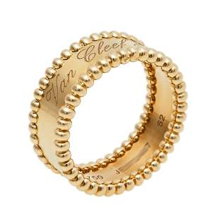 Van Cleef & Arpels Perlée Signature 18K Yellow Gold Band Ring Size 52