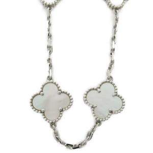 Van Cleef & Arpels Vintage Alhambra 18K White Gold Mother of Pearl 10P Necklace