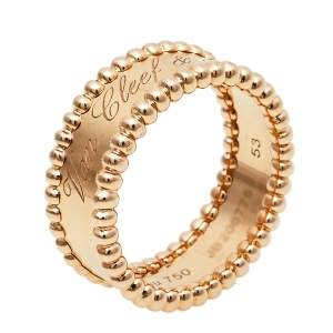 Van Cleef & Arpels Perlée Signature 18K Rose Gold Band Ring Size 53
