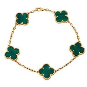 Van Cleef & Arpels Vintage Alhambra Malachite 18K Yellow Gold 5 motifs Bracelet