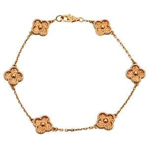 Van Cleef & Arpels Sweet Alhambra 18K Rose Gold 6 Motif Bracelet