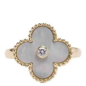Van Cleef & Arpels Vintage Alhambra 18K Yellow Gold Diamond MOP Ring Size EU 51