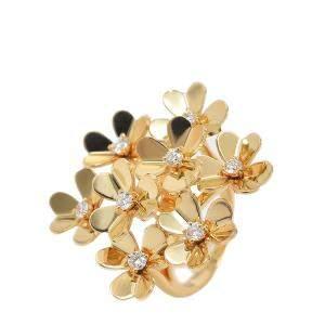 Van Cleef & Arpels Frivole Diamond 18K Yellow Gold 8 Flower Ring Size EU 49