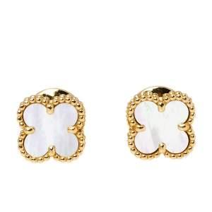 Van Cleef & Arpels Sweet Alhambra Mother of Pearl 18K Yellow Gold Stud Earrings