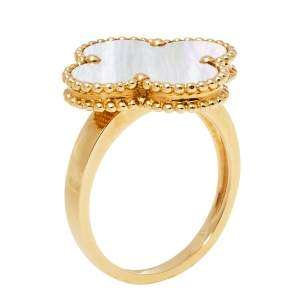Van Cleef & Arpels Magic Alhambra Mother of Pearl 18K Yellow Gold Ring Size 54