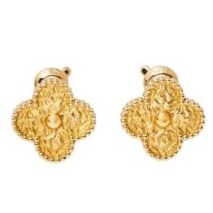 Van Cleef & Arpels Vintage Alhambra 18K Yellow Gold Stud Earrings
