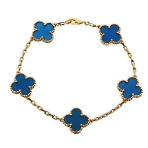 Van Cleef & Arpels Vintage Alhambra 5 Motif Blue Agate 18K Yellow Gold Station Bracelet