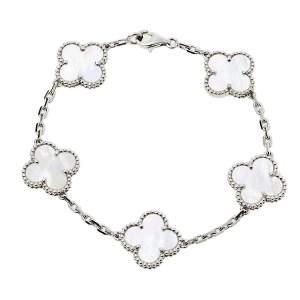 Van Cleef & Arpels Vintage Alhambra 5 Motif Mother of Pearl 18K White Gold Bracelet