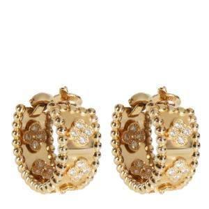 Van Cleef & Arpels Perlee Diamond 18K Yellow Gold Hoop Earrings