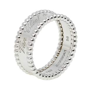 Van Cleef & Arpels Perlée Signature 18K White Gold Band Ring Size 56