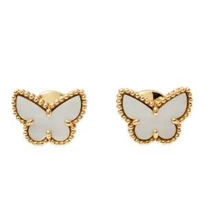 Van Cleef & Arpels Sweet Alhambra Butterfly Mother of Pearl 18K Yellow Gold Stud Earrings