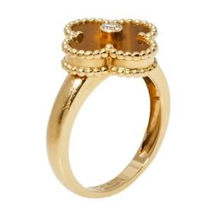 Van Cleef & Arpels Vintage Alhambra Diamond Tigers Eye 18K Yellow Gold Ring Size 54