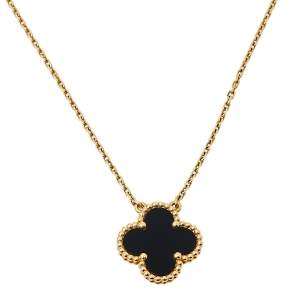 Van Cleef & Arpels Vintage Alhambra Onyx 18K Yellow Gold Pendant Necklace