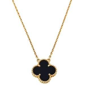 Van Cleef & Arpels Vintage Alhambra 18K Yellow Gold Onyx Pendant Necklace