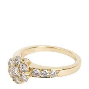 Van Cleef & Arpels Flora Diamond 18K Yellow Gold Ring Size EU 48
