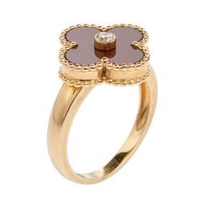 Van Cleef & Arpels Vintage Alhambra Carnelian 18K Yellow Gold Diamond Ring Size EU 52