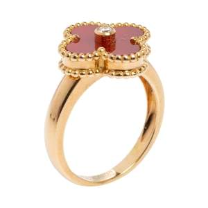 Van Cleef & Arpels Vintage Alhambra 18K Yellow Gold Diamond & Carnelian Ring Size 54