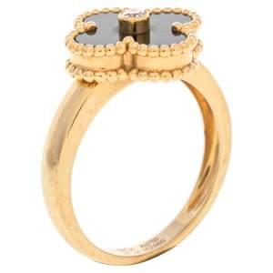 Van Cleef & Arpels Vintage Alhambra Diamond Onyx 18K Yellow Gold Ring Size 57