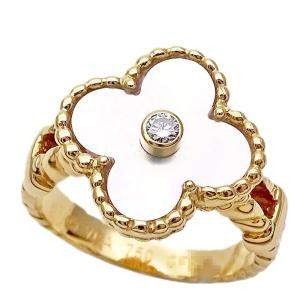 Van Cleef & Arpels Vintage Alhambra 18K Yellow Gold, Diamond, Mother of Pearl Ring Size EU 52