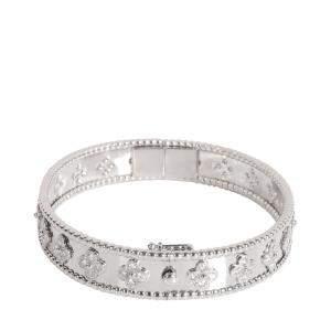 Van Cleef & Arpels Perlee Clovers Medium 18K White Gold Diamond Bracelet 18