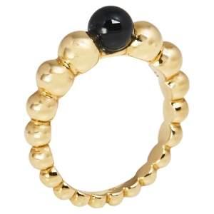 Van Cleef & Arpels Perlee Couleurs Onyx 18K Yellow Gold Variation Ring 48