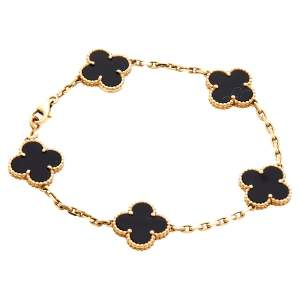 Van Cleef & Arpels Vintage Alhambra 5 Motifs Onyx 18K Yellow Gold Bracelet