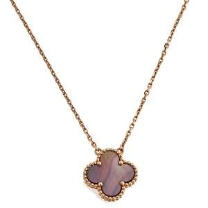 Van Cleef & Arpels Vintage Alhambra Black Mother of Pearl 18K Rose Gold Pendant Necklace