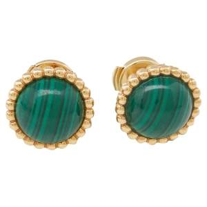 Van Cleef & Arpels Perlée Couleurs Malachite 18K Yellow Gold Stud Earrings