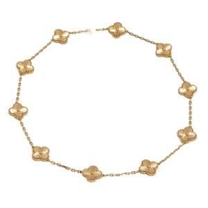 Van Cleef & Arpels Vintage Alhambra 18k Rose Gold 10 Motif Necklace
