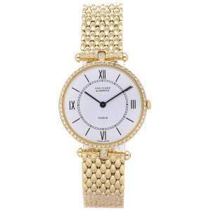 Van Cleef & Arpels White Diamonds 18K Yellow Gold Pierre 18101B1 Women's Wristwatch 30 MM