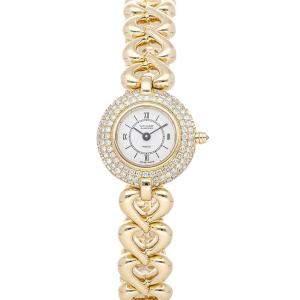 Van Cleef & Arpels White Diamonds 18K Yellow Gold Pierre 122962B305JJ1 Women's Wristwatch 21 MM