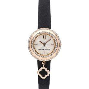 Van Cleef & Arpels MOP Diamonds 18K Rose Gold Charms Watch VCARO29800 Women's Wristwatch 25 MM