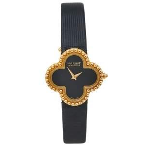 Van Cleef & Arpels Black 18K Yellow Gold Vintage Alhambra Quartz Women's Wristwatch 26MM