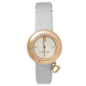 Van Cleef & Arpels Silver 18K Rose Gold Diamond Charms HH69025 Women's Wristwatch 32 mm