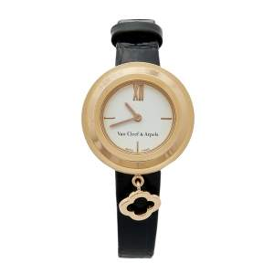 Van Cleef & Arpels White 18k Rose Gold Leather Charms HH67618 Women's Wristwatch 25 mm