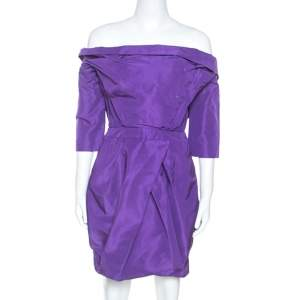 Vera Wang Purple Silk Crystal Embellished Off Shoulder Dress L