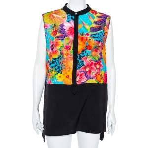 Versace Jeans Multicolor Floral Printed Crepe Sleeveless Shirt XL