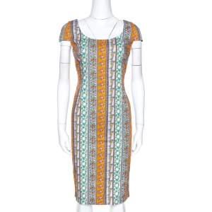 Versace Multicolor Floral Print Cotton Sheath Dress M