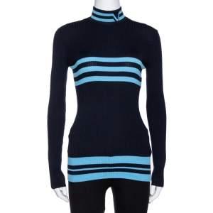 Versace Navy Blue Striped Wool Rib Knit Jumper S