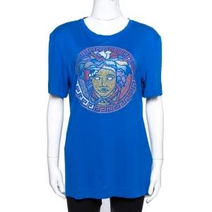Versace Blue Jersey Medusa Icon Studded T-Shirt L