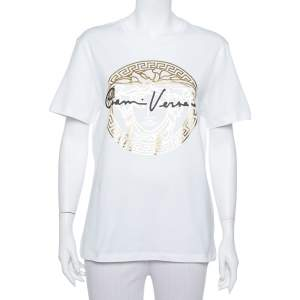 Versace White Medusa Signature Printed Cotton Crewneck T-Shirt M