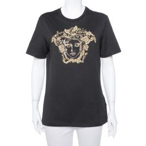 Versace Black Rhinestone Embellished Cotton Crewneck T-Shirt S